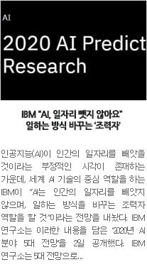 """[일자리뉴스] IBM """"AI, 일자리 뺏지 않아요"""" 일하는 방식 바꾸는 '조력자'"""