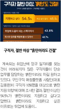 [일자리뉴스] 구직자, 절반 이상 '흙턴이라도 간절'